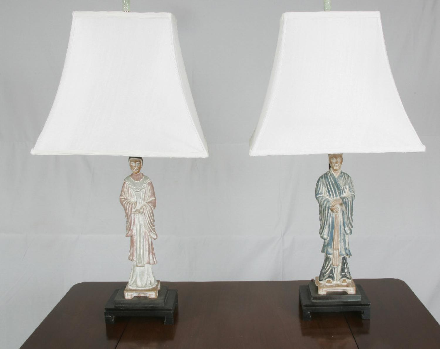 Pair of Chinese figural lamps c1950