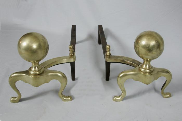 Early American brass cannonball andirons c1840