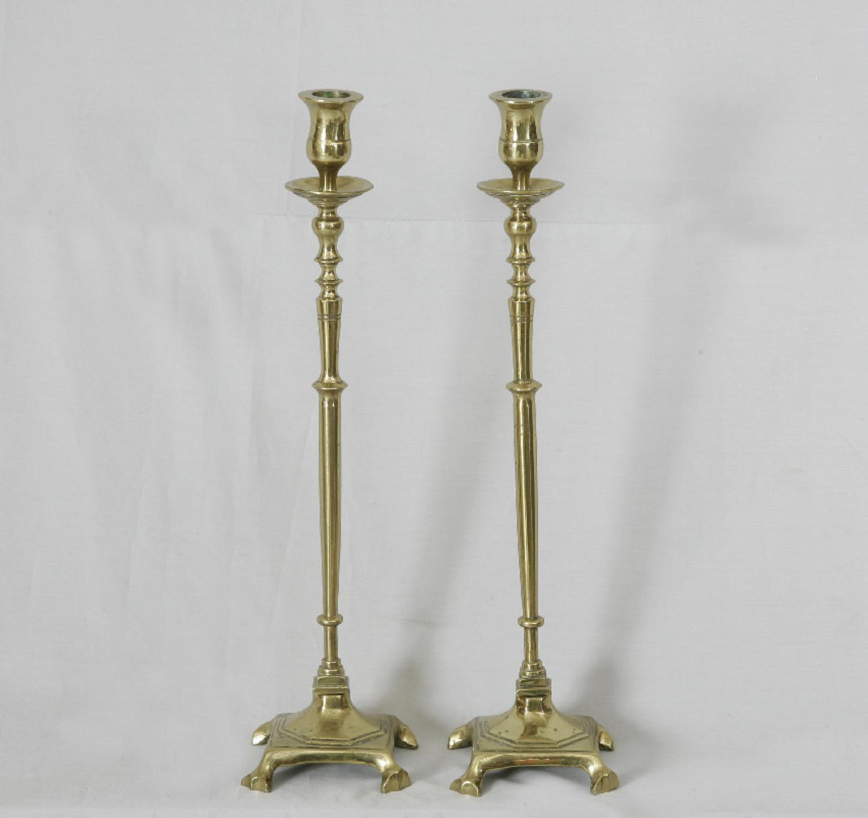 Pair of early Dutch brass candlesticks c1800