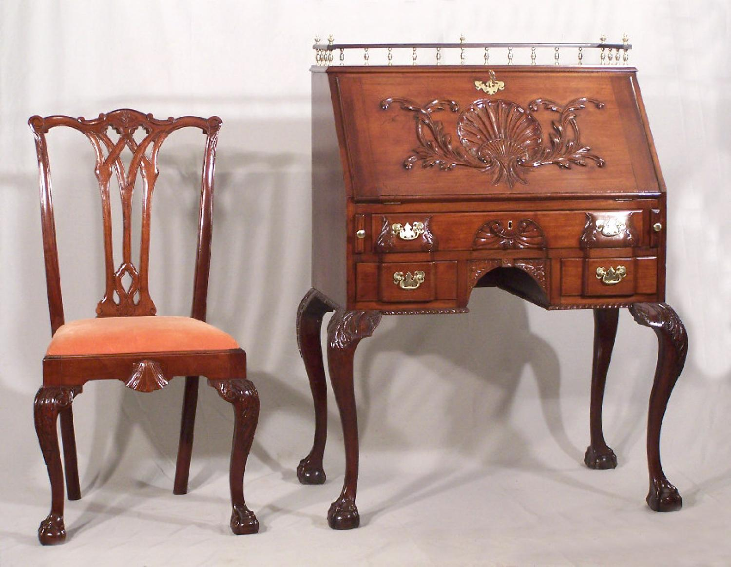 Centennial Chippendale style desk and chair c1875