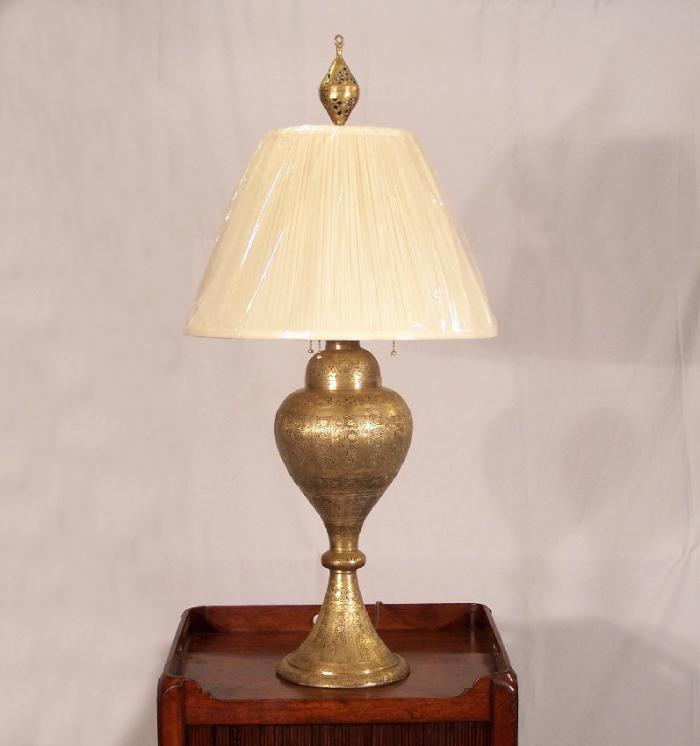 India brass filigree lamp electrified c1850