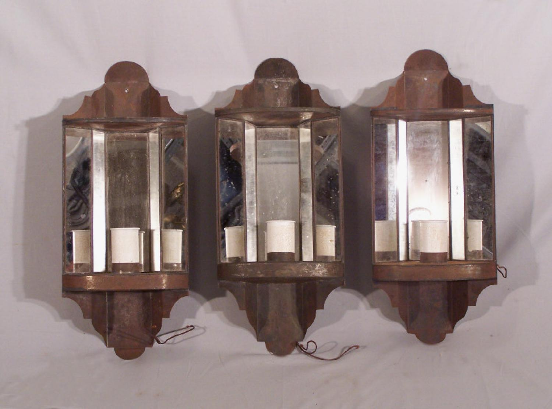 Set of 3 tin hanging corner wall sconces