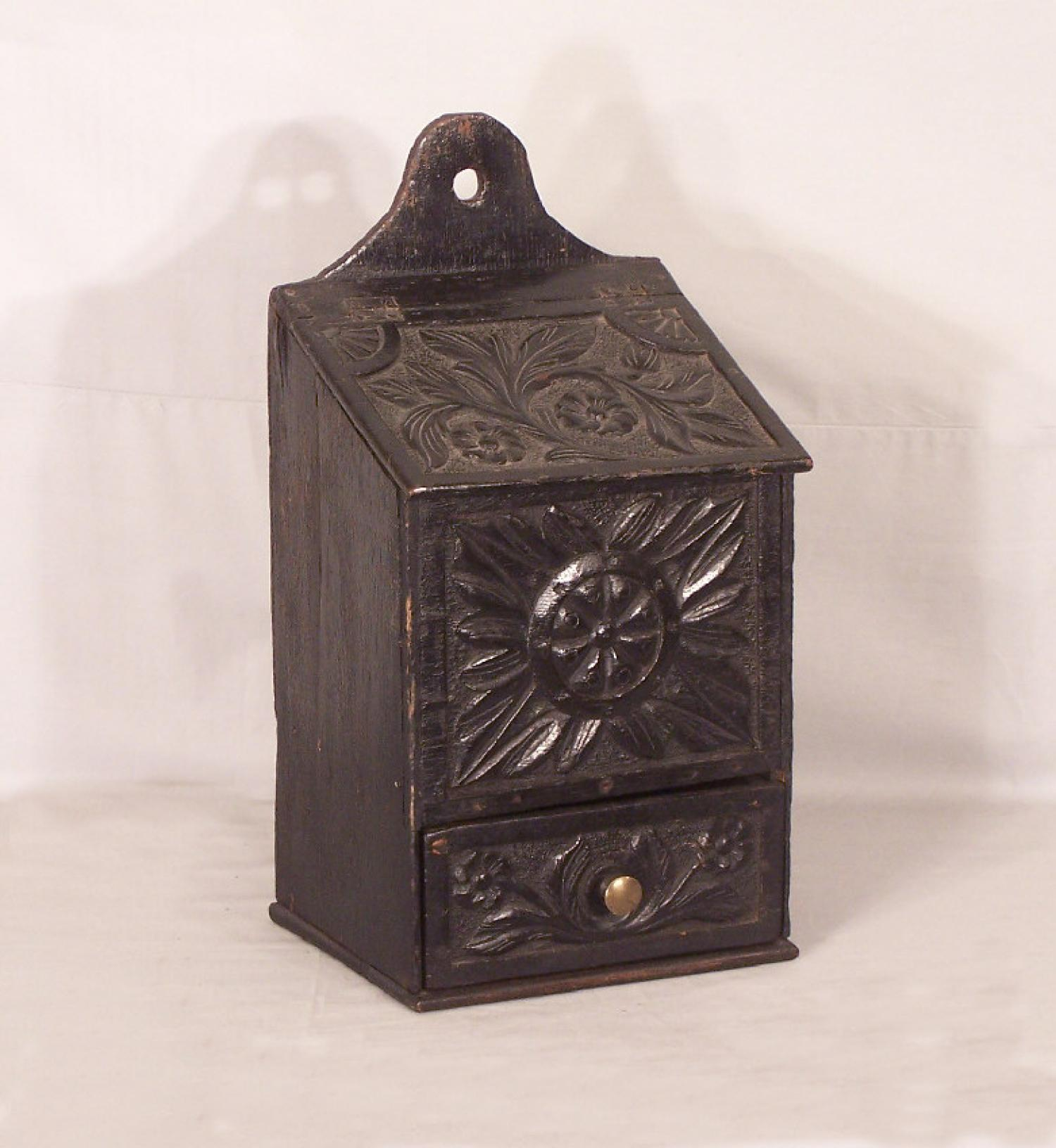 European carved oak pipe box c1800