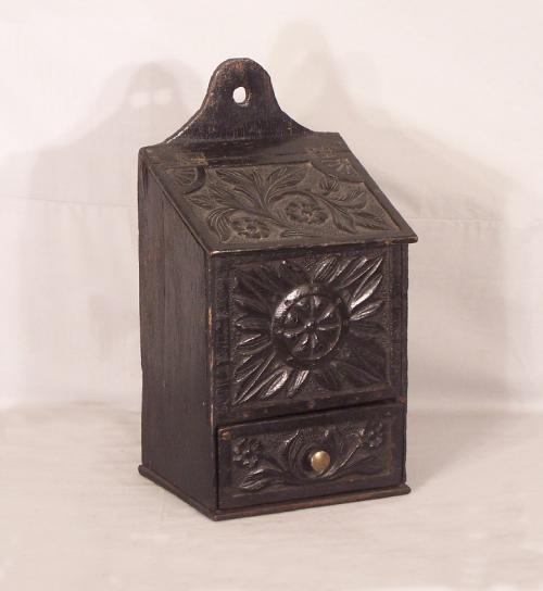 European carved oak pipe box c1800