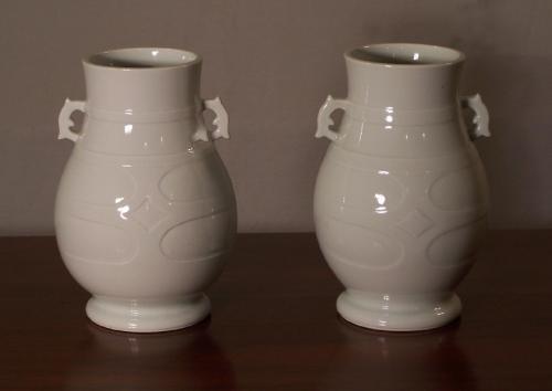 Pair Occupied Japan porcelain vases