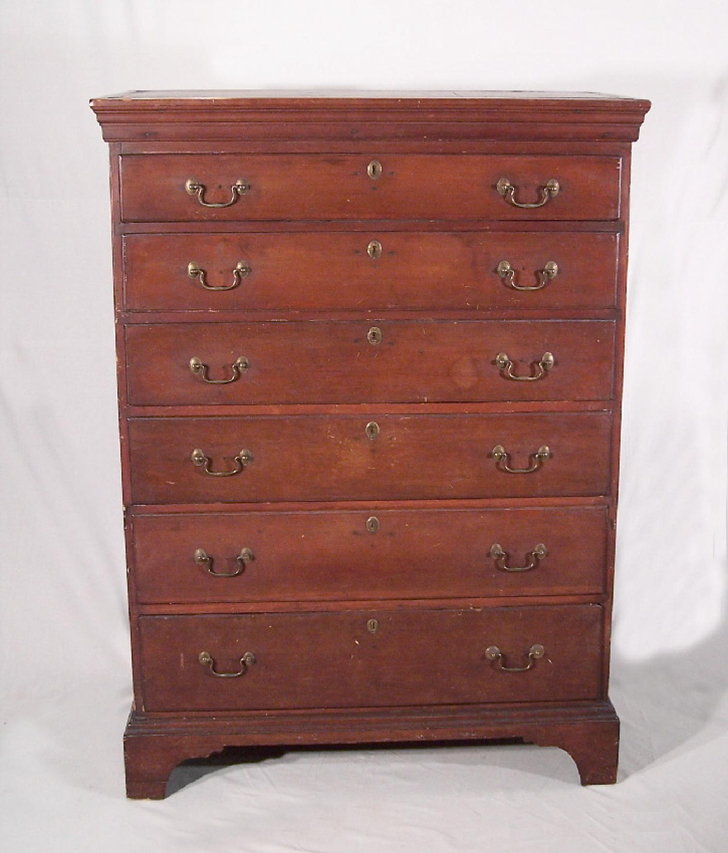 American Chippendale country cherry CT six drawer chest c1760