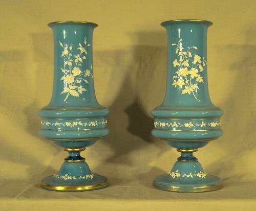 Pair blue Bristol glass vases c1880