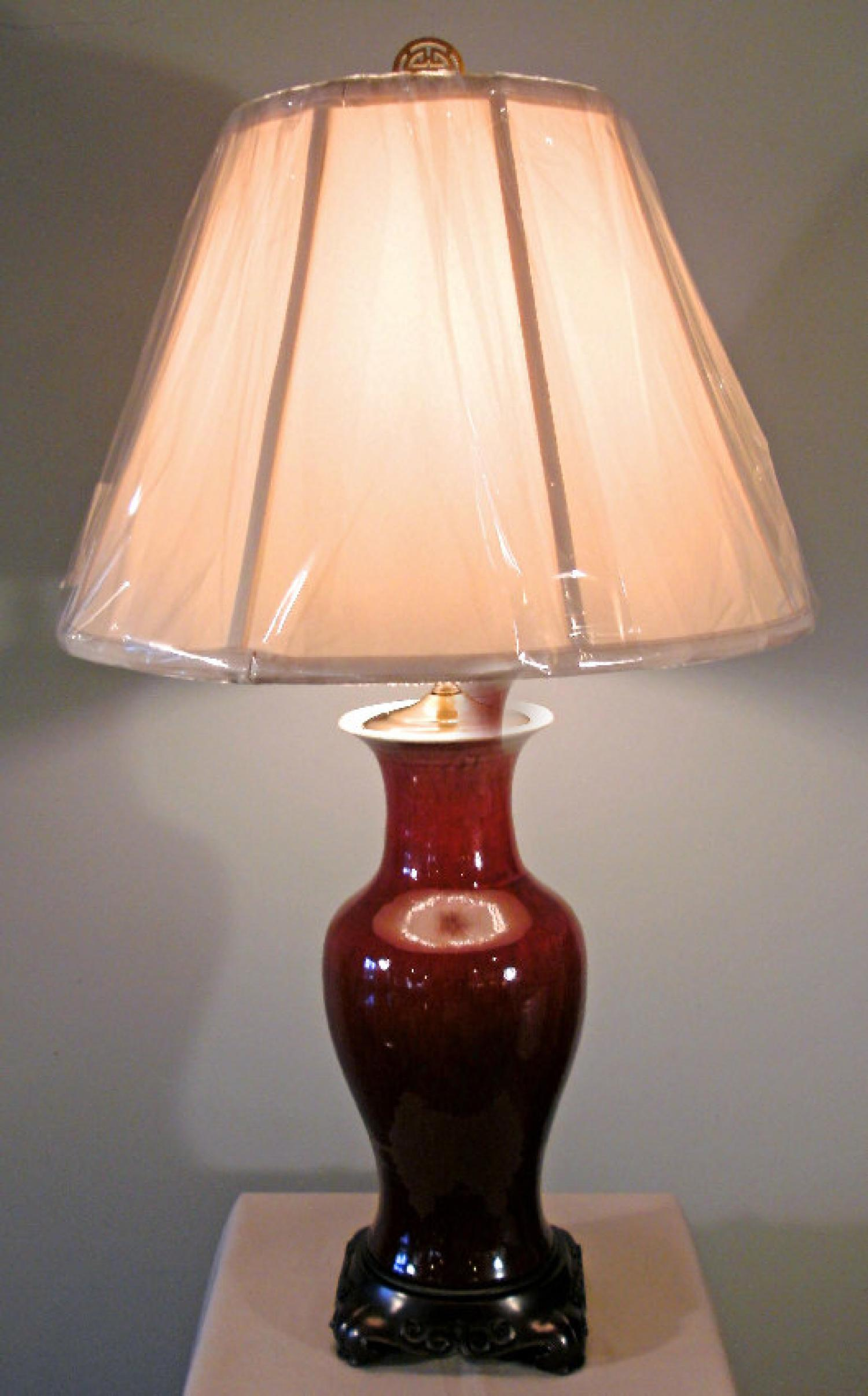 Chinese sang de boeuf baluster shape porcelain lamp