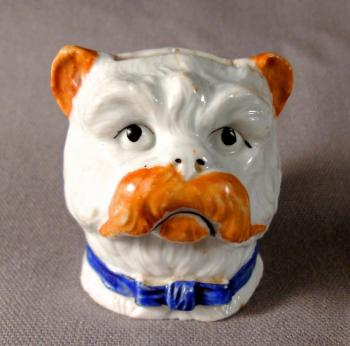 Image of English Staffordshire hand painted porcelain bull dog bank