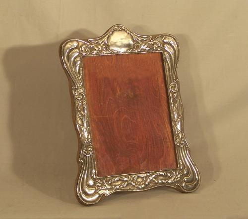 Vintage sterling silver photograph frame on stand c1900