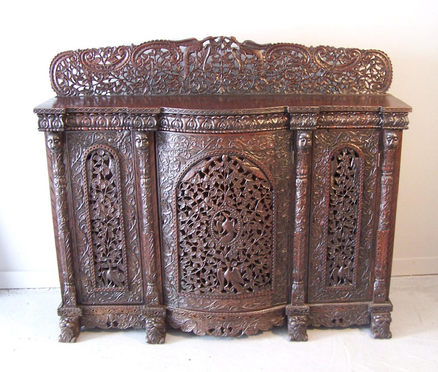 Western India Bombay pierced carved cabinet c1870