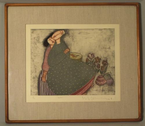 Malaysian artist Eng Tay limited edition intaglio print Lover c1986