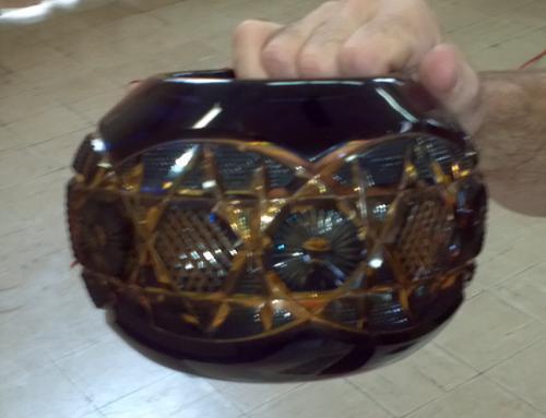 Euorpean hand blown cut glass vase c1900
