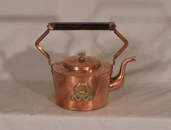 Image of French Empire solid copper and brass kettle or  teapot c1900