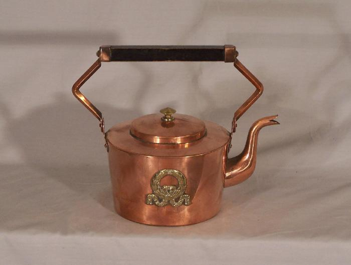 French Empire solid copper and brass kettle or  teapot c1900