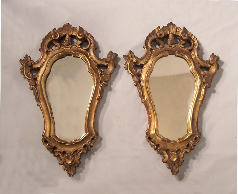 Vintage pair of Italian baroque wall mirrors c1900