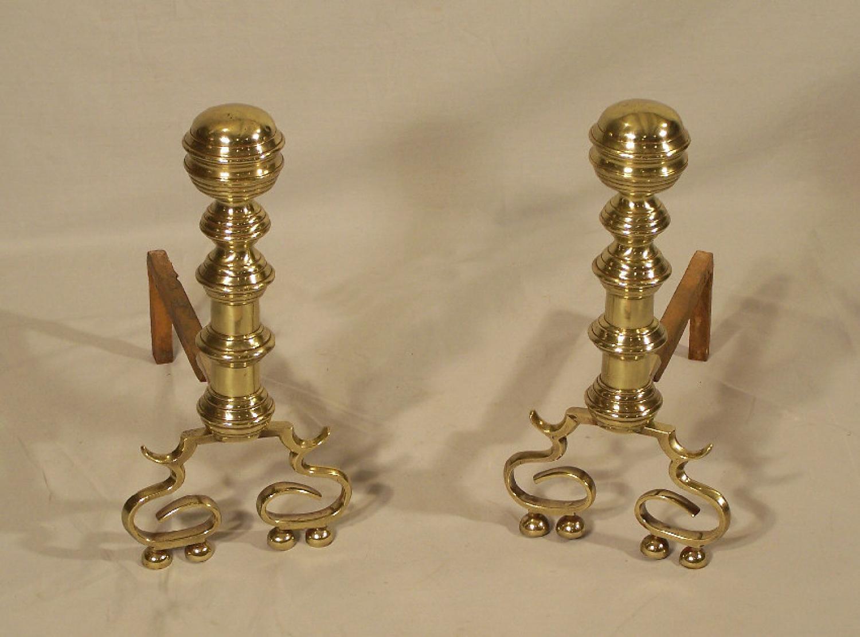 19th century pair of Philadelphia brass fireplace andirons c1840