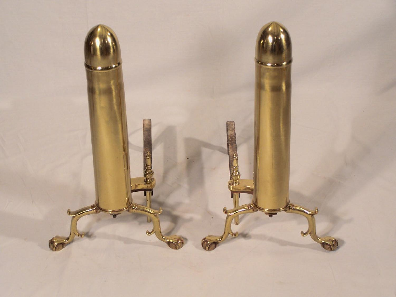 Pair of World War 1 75 mm brass shell fireplace andirons