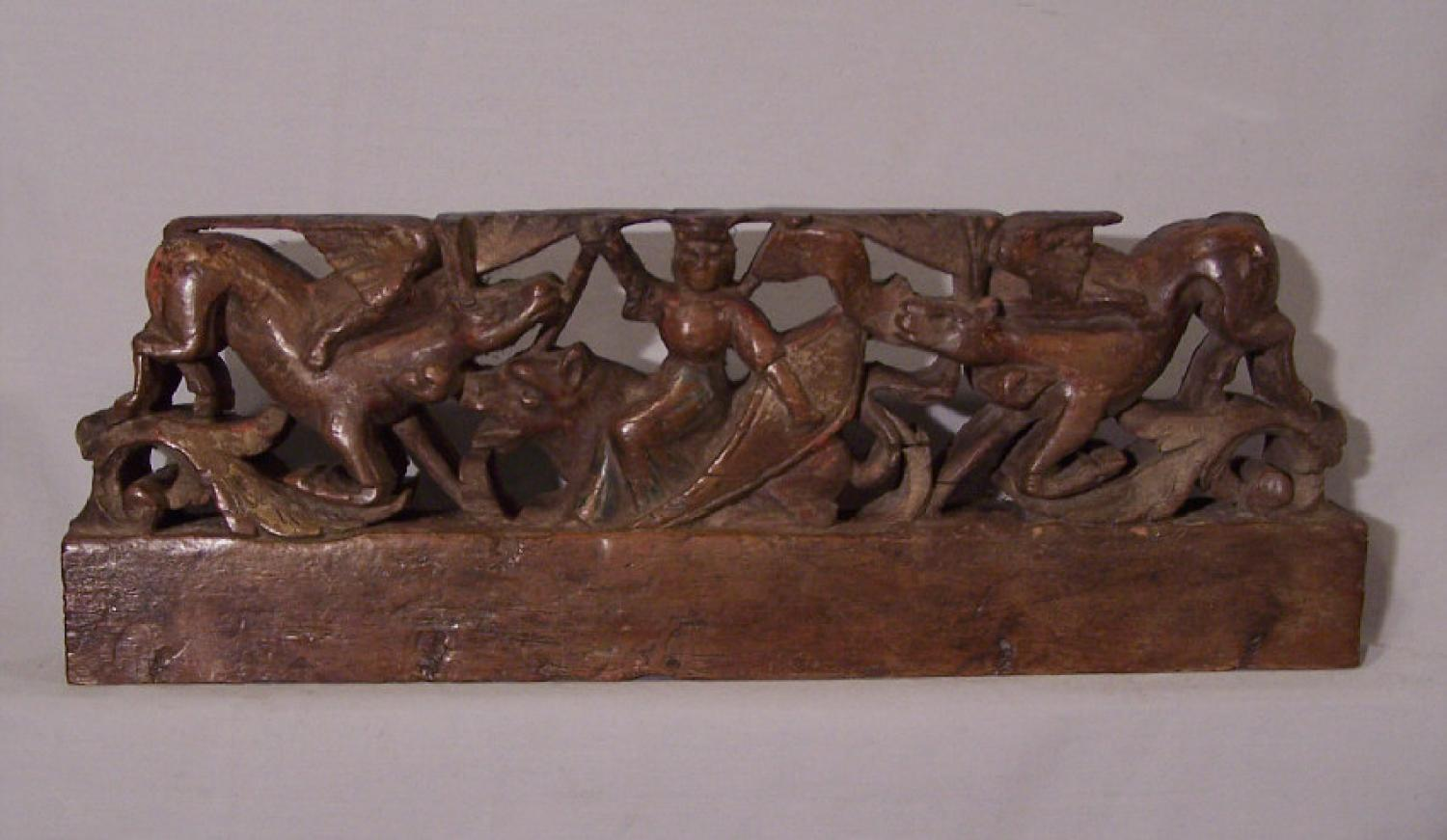 Italian Renaissance carved fragment with lady and stags