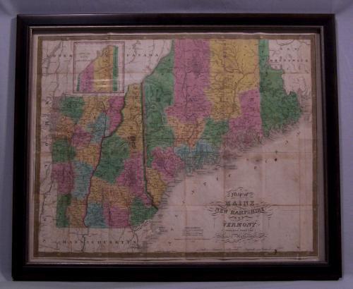 Travel map of Maine New Hampshire Vermont c1833