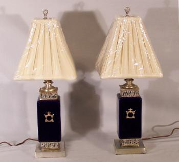 Image of Vintage cobalt blue porcelain Chinese style lamps