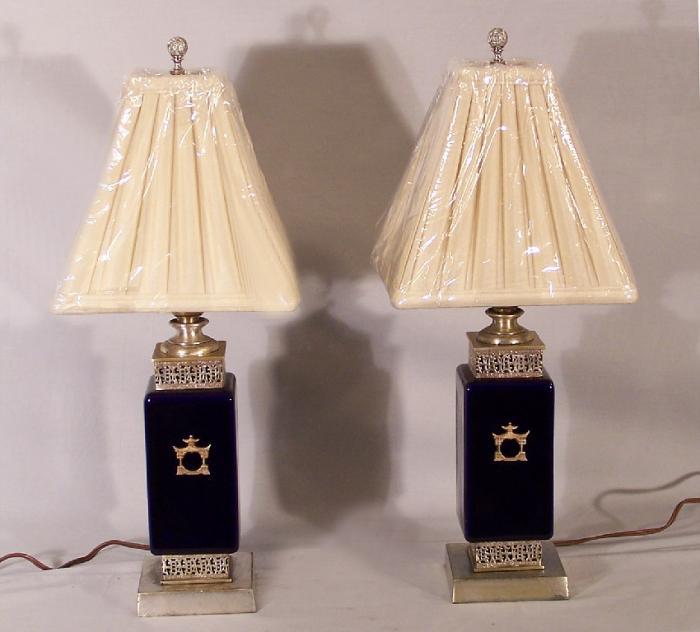 Vintage cobalt blue porcelain Chinese style lamps