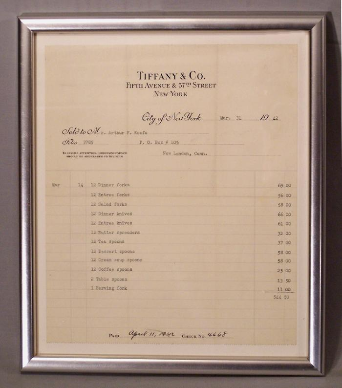 Tiffany Co Fifth Ave 57th Street New York receipt for silver service