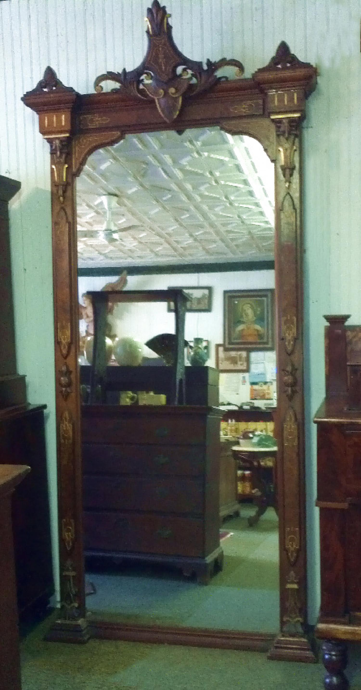 American Victorian black walnut pier mirror c1865