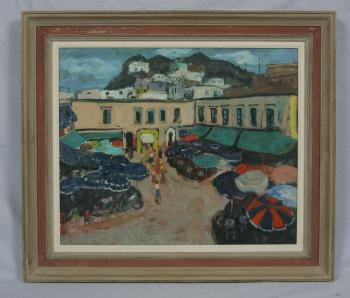 Image of Alex Tschernjawski Town Market square oil painting c1960