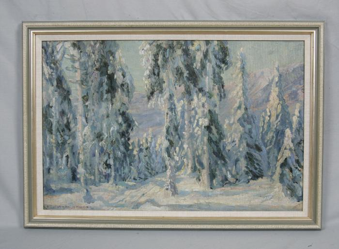 Mountain snow scene oil painting by R L Schuermann