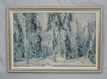 Image of Mountain snow scene oil painting by R L Schuermann