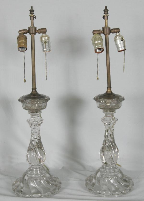 price my item value of pair baccarat swirl glass lamps c1900. Black Bedroom Furniture Sets. Home Design Ideas