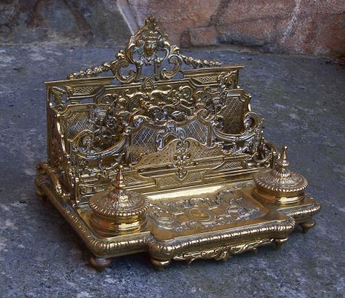 Victorian brass inkwell and letter holder desk stand c1880