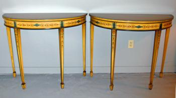 Image of Pair English Edwardian Period ochre painted demi lune console tables