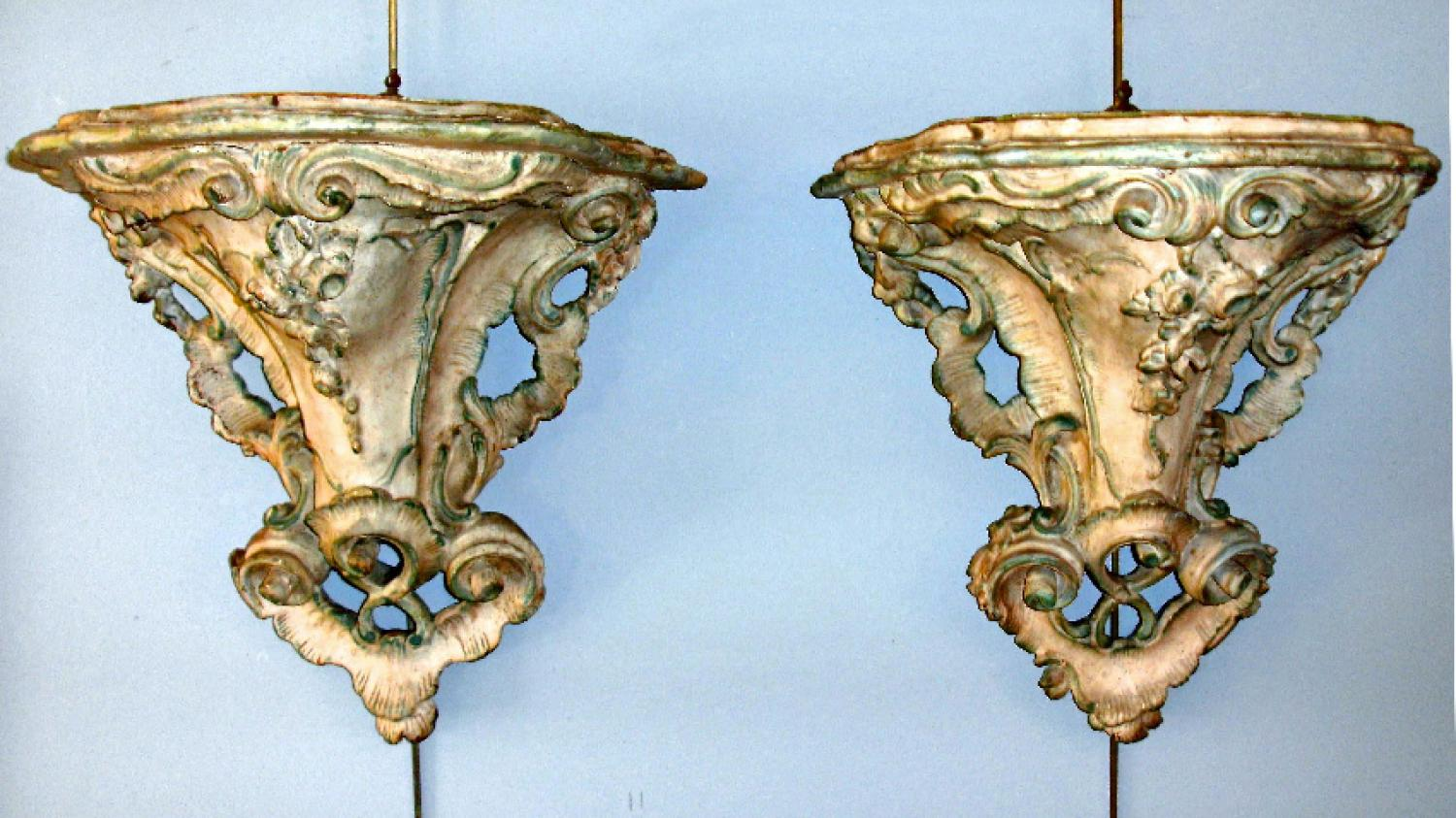 Pr 18th Century Italian Rococo Period hand carved wall brackets
