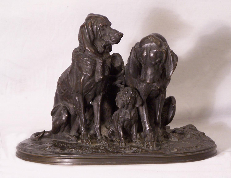 Alfred Jacquemart bronze dog group sculpture