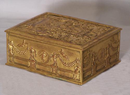 E F Caldwell gilt copper box c1900