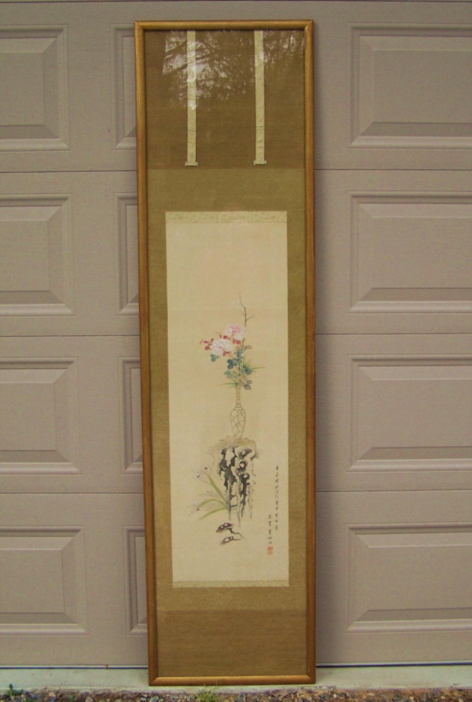 19th century Japanese silk scroll