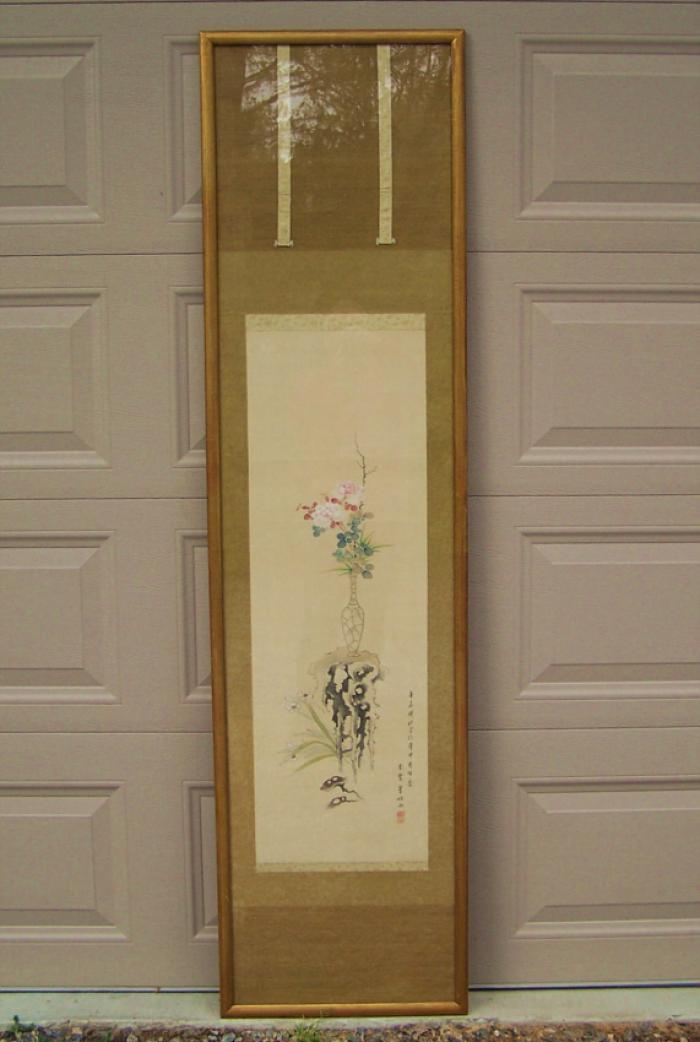 19th century Japanese silk scroll