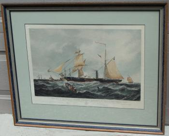 Image of The Steam Frigate Cyclops 1857 colored aquatint