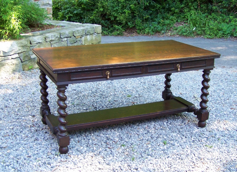J B Van Sciver Co oak library desk c1900