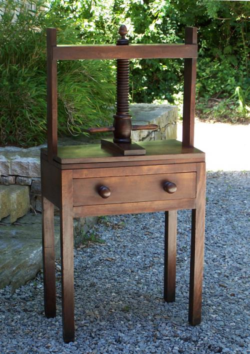 Early English book press c1800 with acorn finial