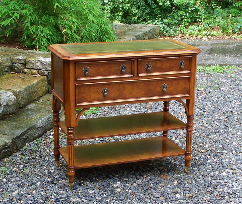 Vintage English Regency burl elm library table