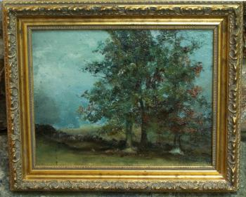 Image of Fannie Burr landscape oil painting on board c1885