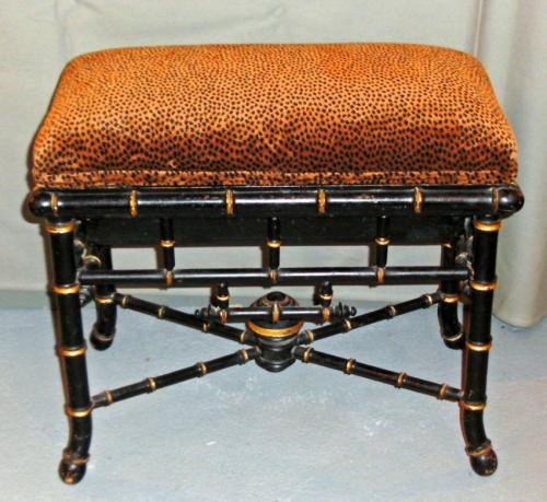 English Victorian faux bamboo music bench