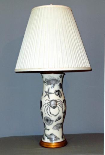 Image of Vintage English Victorian style decoupage lamp