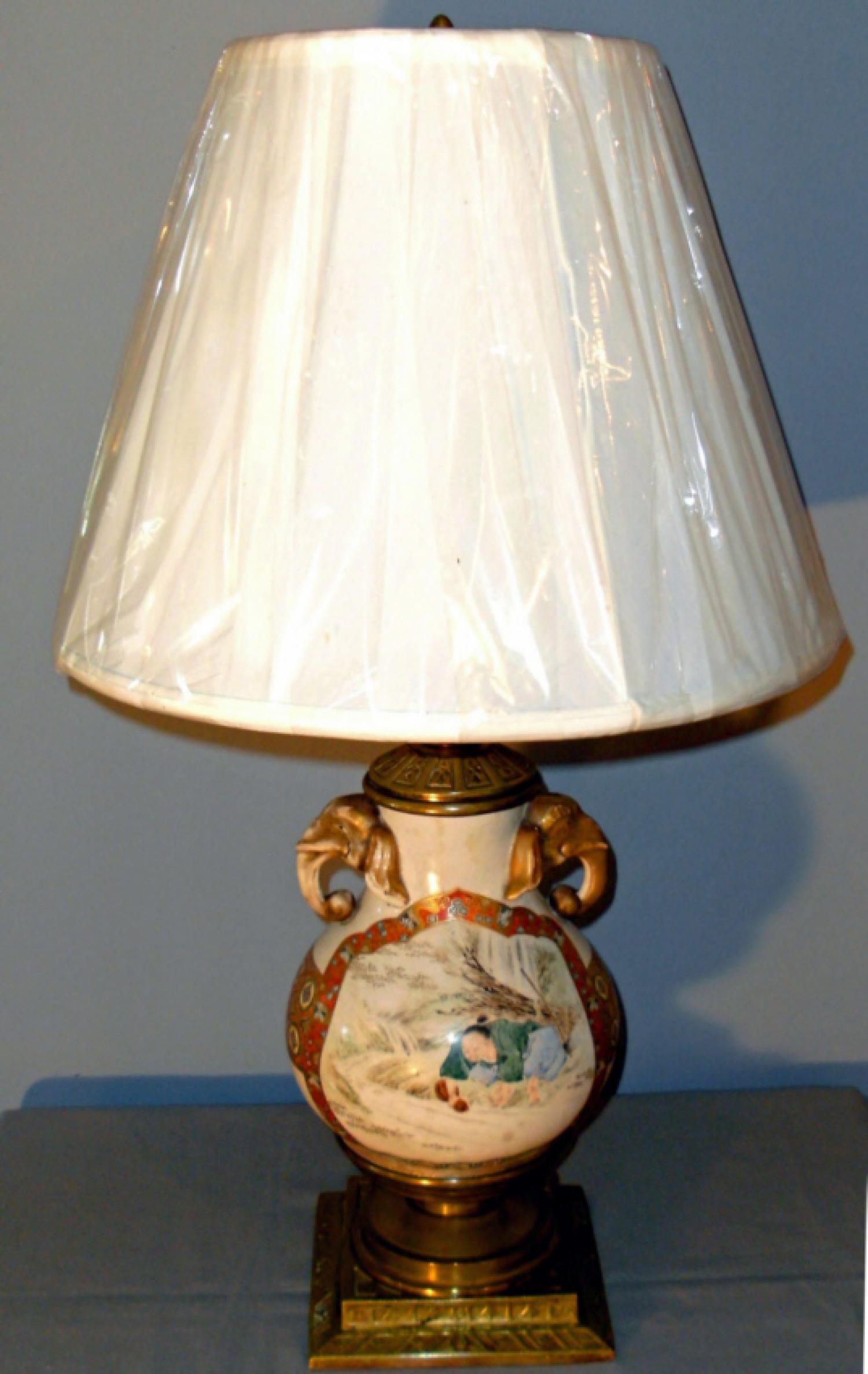 Meiji Period Japanese Satsuma bulbous vase lamped