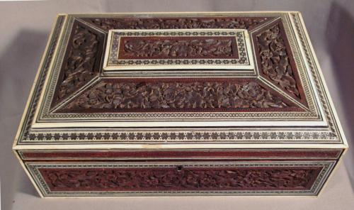 Anglo Indian carved rosewood and ivory inlaid sewing box c1855