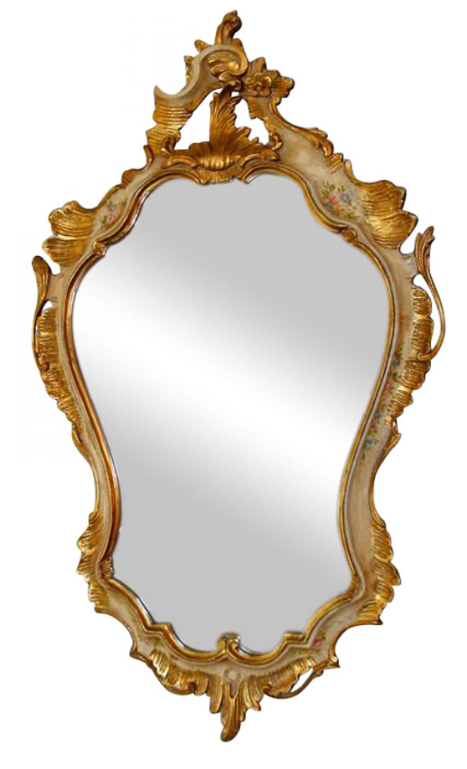 Venetian Rococo style cartouche shaped mirror c1910