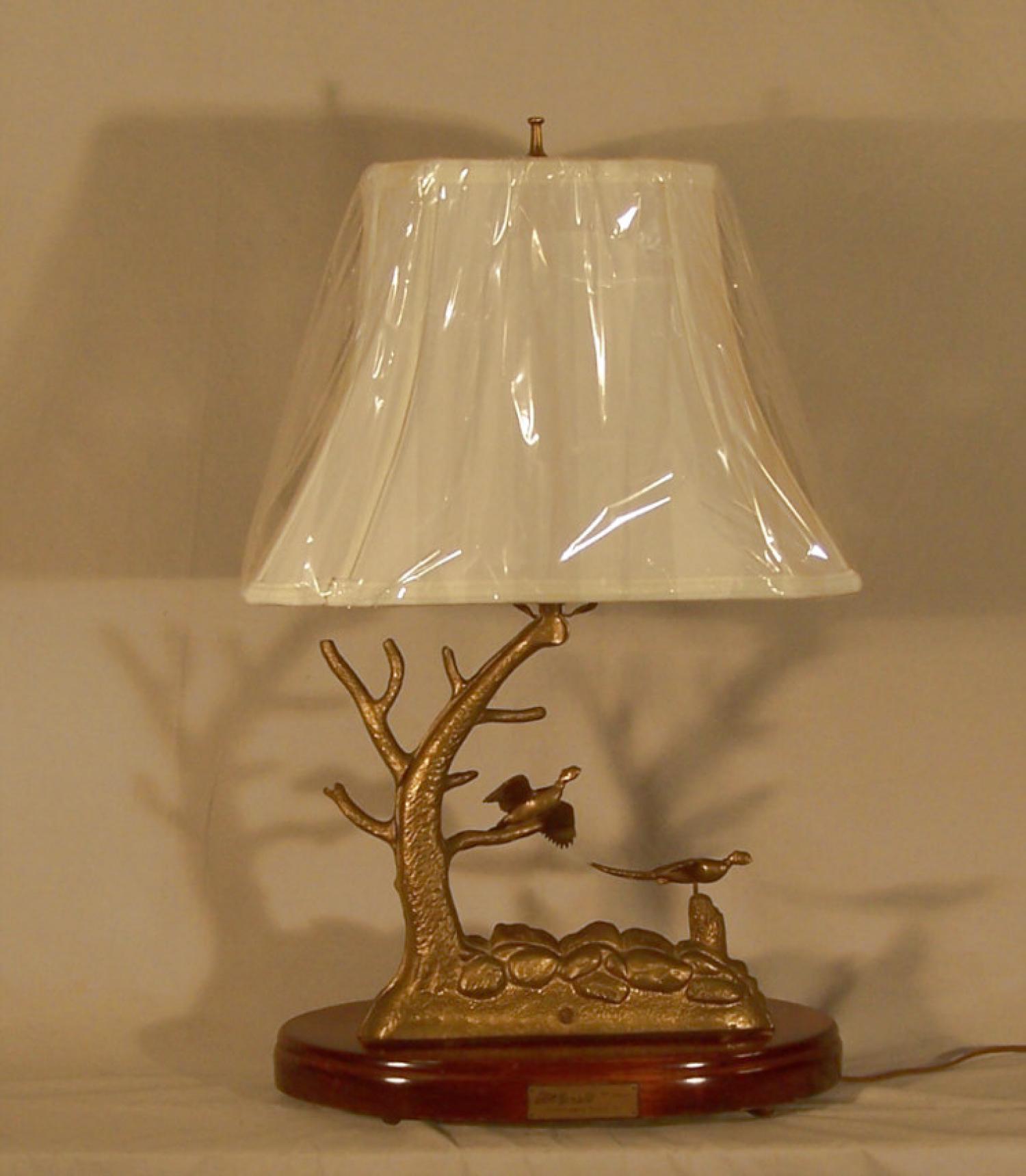 Donald W McDonald solid cast brass pheasant sport lamp c1970